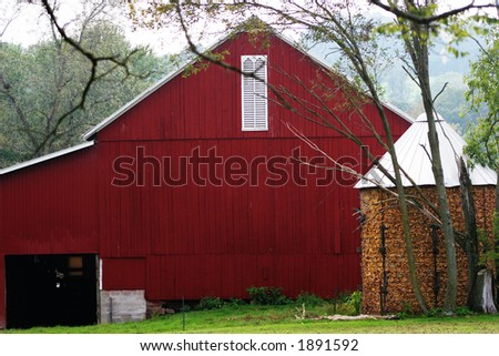 Red barn in Pennsylvania. - stock photo