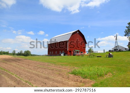 Red Barn near Traverse city in Michigan - stock photo