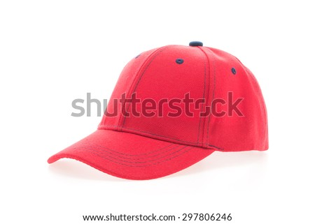 Red baseball cap isolated on white background