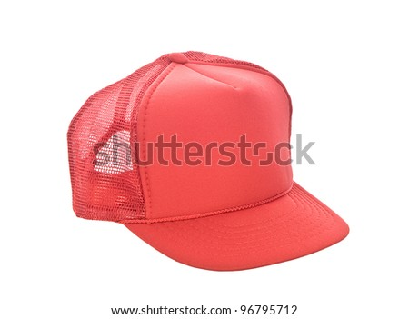 Red baseball hat isolated on white - stock photo