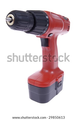 red battery's drill isolated on white background