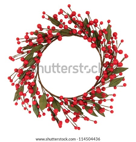 Red bauble christmas wreath over white background. - stock photo