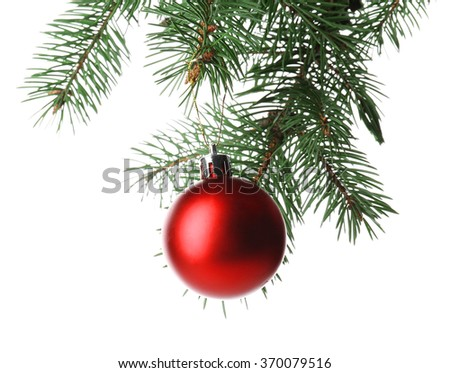 Red bauble on a Christmas tree branch, isolated on white - stock photo