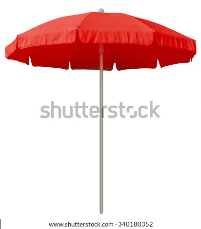 Red beach umbrella isolated on white. Clipping path included. - stock photo