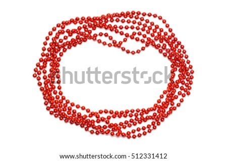 Red beads border isolated. Christmas background.
