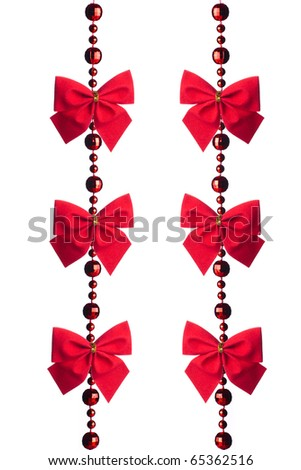 red beads garland isolated on white background - stock photo