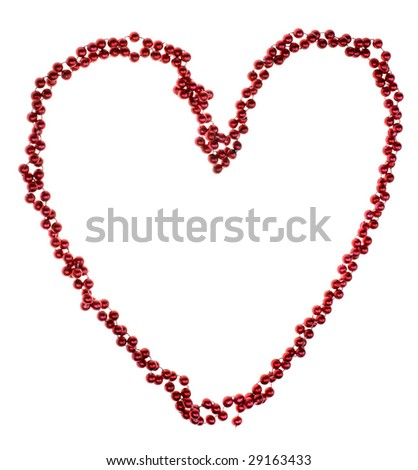 red beads in heart symbol over white