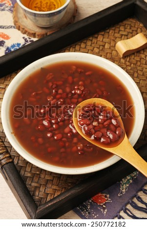 Red bean dessert ready to eat.  - stock photo