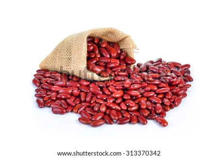 Red bean on white background - stock photo