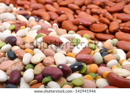 red beans and mixture of legumes on background - stock photo