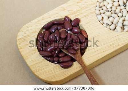 red beans and soy beans in wood tray  - stock photo