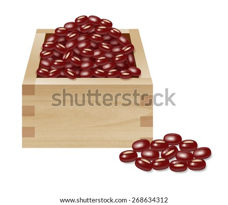 "Red beans and wooden box. Wooden box is called ""masu"" in Japanese."