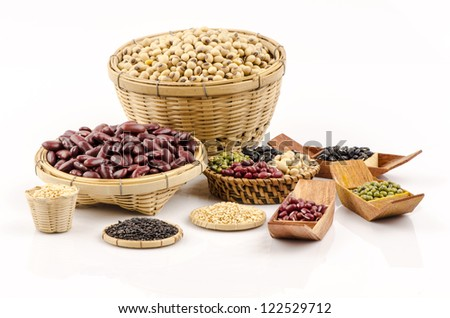 Red beans, Green Bean, Black and white sesame and Soybeans on a white background