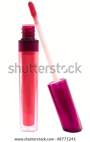 red beautiful gloss for lips - stock photo