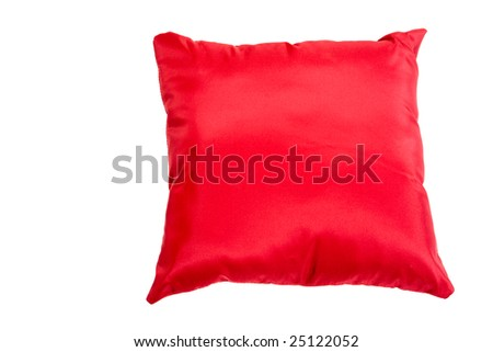 Red beautiful pillow isolated on white