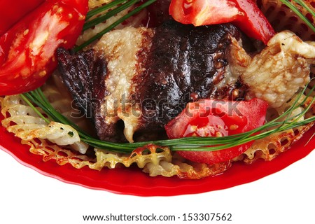 red beef meat on bowl served on white