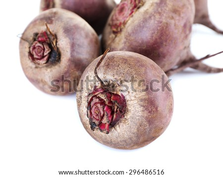 Red beets isolated on white - stock photo