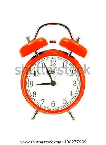 red bell clock (alarm clock) isolated on white background - stock photo