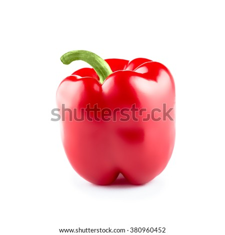 Red bell pepper isolated on white background, bell pepper photo, bell pepper isolate, bell pepper nobody, bell pepper organic, bell pepper fruit, bell pepper food, bell pepper raw - stock photo