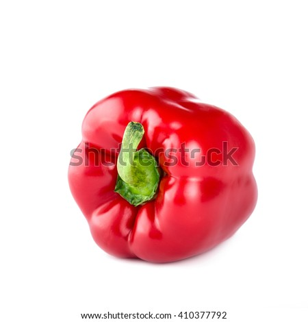Red bell pepper isolated on white background, bell pepper photo, bell pepper isolate, bell pepper nobody, bell pepper organic, bell pepper fruit, bell pepper food, bell pepper raw, pepper fruit - stock photo