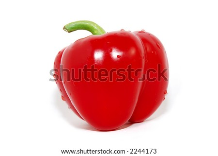 Red bell pepper, isolated on white background, with water droplets.Side view. - stock photo