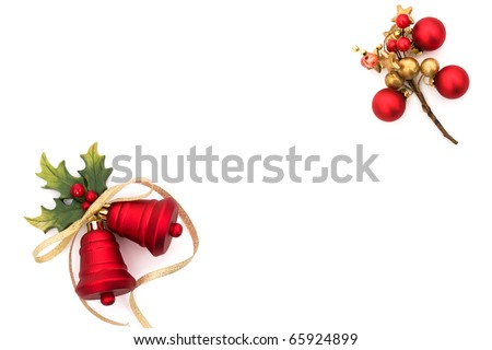 Red bells with holly and berries on a white background, Christmas Time - stock photo