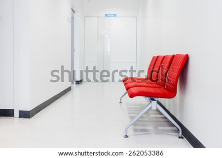Red Bench, Red chair in Waiting room - stock photo