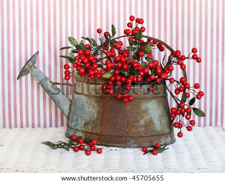 red berries inside old weathered watering can - stock photo