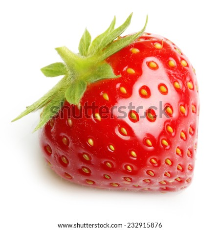 Red berry strawberry on white background - stock photo