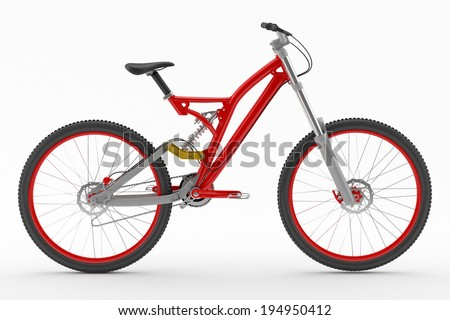 Red bicycle isolated on white background