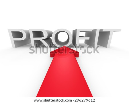 Red Big Arrow Pointing To PROFIT Word. 3d Render Illustration - stock photo