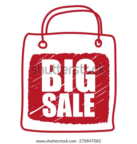 Red Big Sale Shopping Bag  Banner, Sign, Label or Icon Isolated on White Background - stock photo