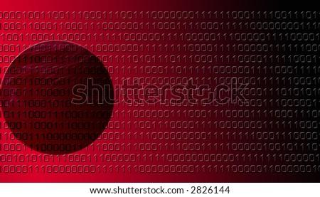 Red Binary Data - stock photo