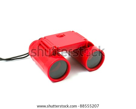 Red Binoculars Isolated on white background - stock photo