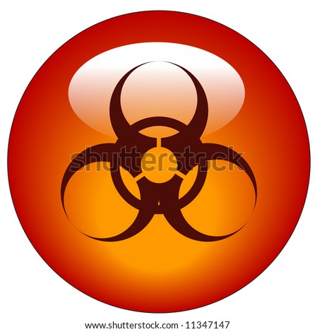 red biohazard logo on red button or icon - stock photo