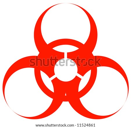 red biohazard warning sign or logo on white - stock photo