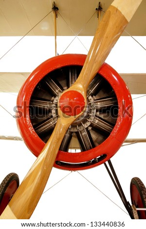 Red Biplane -  Engine with  with Propeller - stock photo