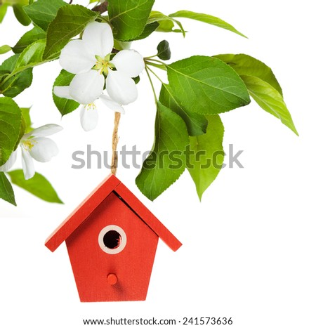 Red birdhouse hanging on branch with apple blossom on white background - stock photo