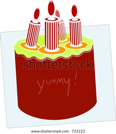 Red Birthday Cake With Candles Illustration Vector Format Available In The Portfolio
