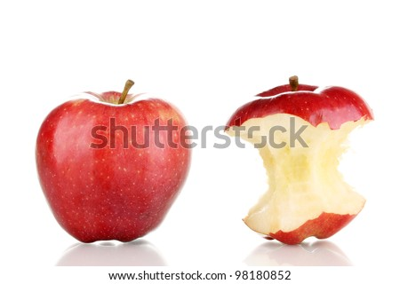 Red bitten apple and whole apple isolated on white - stock photo