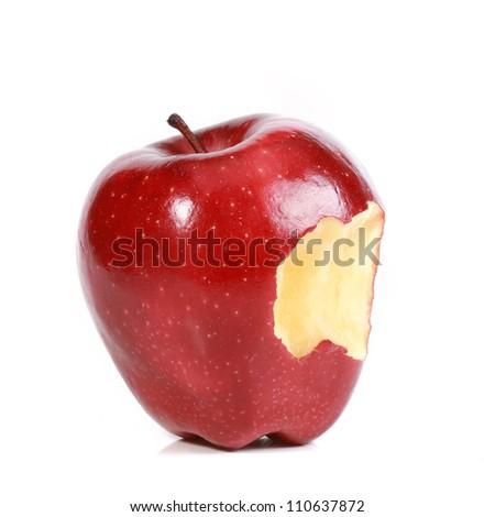 Red bitten apple on white background. - stock photo