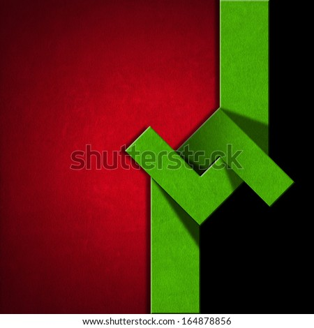 Red, Black and Green Abstract Background / Red and green velvet background with geometrical forms on black background