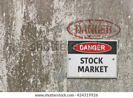 red, black and white Danger, Stock Market warning sign - stock photo