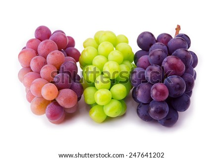 Red, black and white (green) grapes isolated on pure white surface.  - stock photo