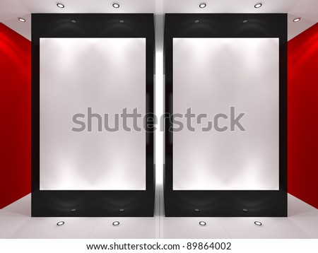 Red, black and white interior with empty frames on columns. - stock photo
