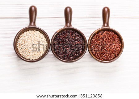 Red, black and white quinoa seeds,healhy food