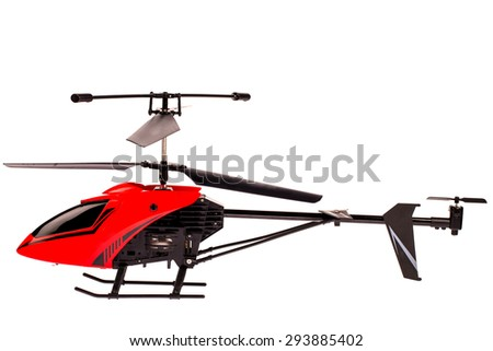 red-black helicopter in isolated on white background
