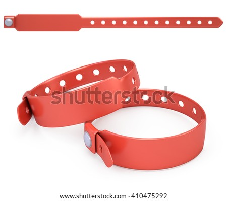 red blank bracelet isolated on white - 3d render - stock photo
