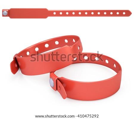 red blank bracelet isolated on white - 3d render - stock photo