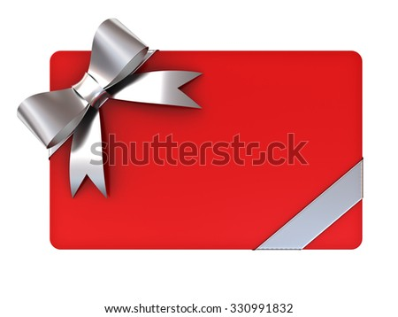 Red blank gift card with silver ribbons and bow isolated on white background - stock photo